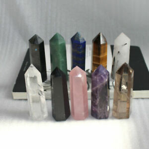Natural Flourite Amethyst Clear Quartz Crystal Point Obelisk Wand Healing Stone