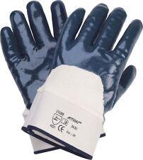 12 Paar Arbeitshandschuhe Nitril Segeltuch mit Stulpe Größe 10 blau 1033-010A