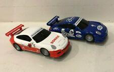 2pc Lot SCX Scalextric COMPACT 1/43 Slot Cars Porsche 911 Sonax #5 Gates #33 NEW