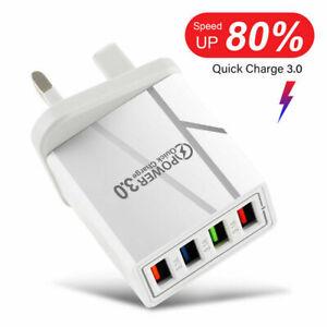 4 Multi-Port Fast Quick Charge QC3.0 USB Hub UK Plug 240v Wall Charger Adapter