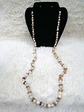 Handmade Bean and Seed-Like White/Browns Fashion Jewelry Necklace, Accessory