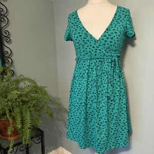 Blooming Marvellous Bright Green Print Dress Cocktail Party Midi Short Size 12