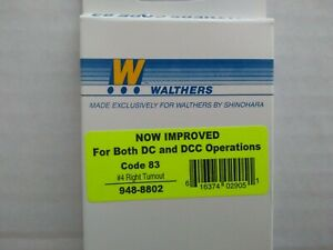 Walthers/Shinohara 948-8802 HO Scale Code 83 #4 Right Turnout for DC&DCC