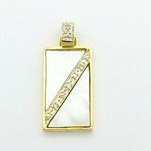 Ladies Pendant 9ct (375, 9K) Yellow Gold Mother of Pearl Diamond Chip Pendant