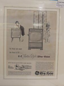 Original 1956 Vintage Advert ready to framed GE Feature styled Ultra vision TV