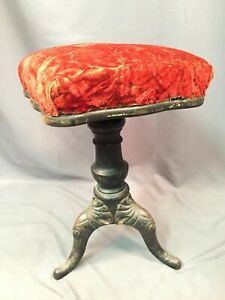 Antique Victorian Adjustable Piano Stool With Cast Iron Legs