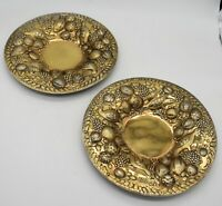 Superb Pair of sterling silver VERMEIL PLATES/CHARGERS.BIRDS, FRUIT. London 1824