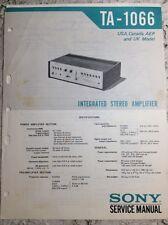 Vintage 1973 Sony Ta-1066 Stereo Amplifier Service Manual (my lot #255)