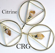 Gold Plated Triangle In Ring w/ CITRINE Point Dangle Pendant (TR9BT)