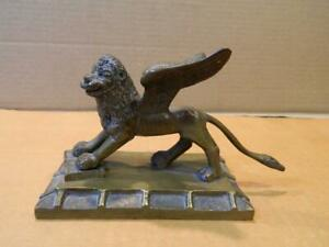 """St. Mark Venice, Italy Winged Lion 3 1/4"""" Bronze Statue/ Paperweight Vintage"""