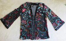 Rayon & Silk Floral Jacket w Beading Draper's & Damon's Petite Small -Runs Large