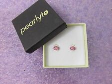 Pearlyta 14k Gold Childs Freshwater Pearl Cubic Zirconia Heart Hanging Earrings