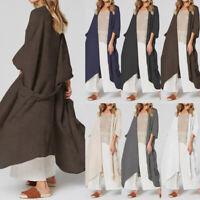 Women Summer 3/4 Sleeve Cardigan Kimono Outerwear Jacket Plus Size Maxi Coat HOT