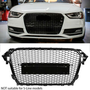 DEBADGED BADGELESS BLACK SPORT MESH FRONT GRILL GRILLE FOR AUDI A4 B8 8.5 12-16