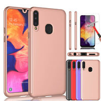 For Samsung Galaxy A20s Case 360 Shockproof Bumper Hybrid Cover + Tempered Glass