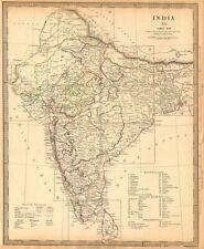 INDIA. Index Map. Lists British French Portuguese Danish states. SDUK 1844