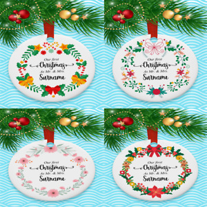 WOODEN Christmas Tree Decorations, 1st Christmas as .......Personalised dec
