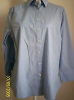 Lands' End klassische Bluse Shirt Tunika Baumwolle in blau, Gr. 40