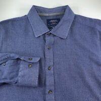 Charles Tyrwhitt Mens Button Front Weekend Shirt Blue Long Sleeve Slim Fit XXL