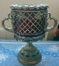 More details for antique vintage retro crystal cut ruby red glass vase bowl baroque rococo urn