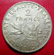 France. Belle 2 Francs semeuse 1914 C. Argent. SUP