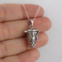 Celtic Knot Hinged Pendant Necklace - 925 Sterling Silver - Triquetras Ashes NEW