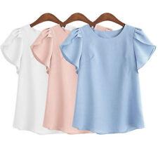 Women's Casual Chiffon Blouse Short Sleeve Shirt T-shirt Summer Tops M L XL XXL