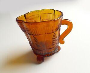 Vintage Art Deco Sowerby Lea Amber Orange Pressed Glass Creamer Milk Jug Vase