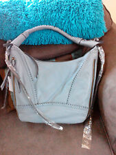 ORYANY MICHELLE SOFT NAPPA LEATHER EXPANDABLE HOBO BAG PURSE lite gray