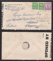 USA United States 1941 Censored Cover to Scotland