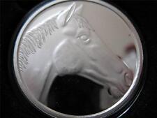 1-OZ.999 PURE SILVER COIN SILVERTOWNE ENGRAVABLE HORSE HEAD KEEPSAKE  + GOLD