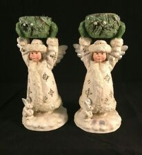 Set Of 2 P. Schifferl Little Angel Candle Stick Holders