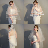 Elegant White Ivory Lace Tulle Bridal Wedding Veil with Comb Bridal Accessories