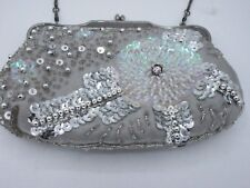 Clutch Purse Hand Bag Metallic Silver Rhinestone Sequin Beaded Evening Cocktail