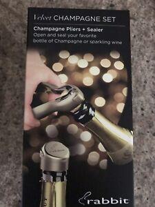 Rabbit Velvet Champagne Opener And Sealer Fizz Keeper BNIB RRP £36