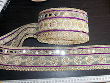 mirror PURPLE lace GOLD Indian wedding dance costume ribbon crystal applique