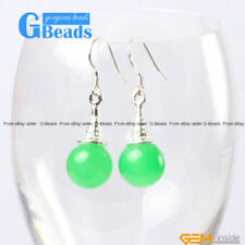 Round Stone Jade Costume Earrings