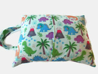 "Dinosaur Design Toddler Or Travel Pillow Flannel 12 X 16"" With Carrying Handle"