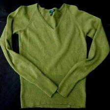 Griffen Femmes 100% Cachemire Col V Pull Vert Taille S