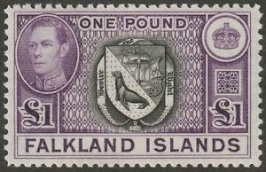 Falkland Islands 1938 KGVI £1 Black and Dull Violet Mint SG163 cat £130