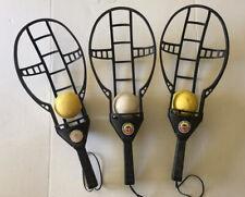 3 Original Vintage 1975 Wham-O Trac-Ball Rackets and balls.
