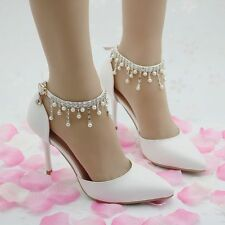 White Charming New Fashion Pearl Toe Women Shoes Wedding Bride High Heels Pumps