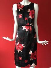 WALLIS Retro Vintage Black Red Floral Print Satin Look Dress Size 14 Petite