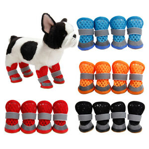 4x Breathable Mesh Pet Shoes Dog Paw Protective Boot For Pet Dog