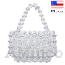 Women Beaded Bag Handmade Transparent Acrylic Handbags Ladies Luxury Clear Purse
