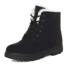 Women Winter Snow boots Warm Boots Flat Lace Up Faux Fur Lined Snow Ankle Boot