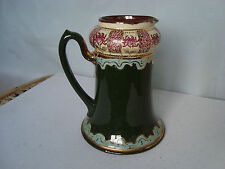 VINTAGE ANTIQUE VICTORIAN ? GREEN JUG HAND PAINTED GOLD NUMBER 160 FLOWER VASE