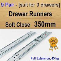 9 pairs soft close Cabinet Cupboard Kitchen Vanity drawer runners /Slides 350mm