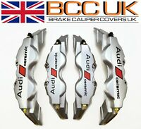 BIG SILVER Brake Caliper Covers DIY Kit Ceramic Logo Front Rear 4x L+M fits AUDI