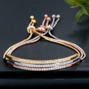Elegant Women Crystal Zircons Adjustable Chain Bracelet Bangle CZ Jewellery Gift